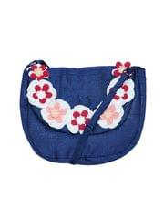 A Little Fable- Navy 3D Flower Sling Bag