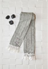 Lullabuy- Girls Gray Stockings with Bow Detailing & White Bolero Lace