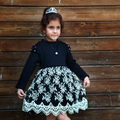 Dress My Angel Party Princess Black with pearl Neck Piece