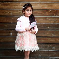 Dress My Angel Party Princess Pink with pearl neck piece