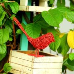 Deziworkz Red Wired Bird-Decor Wire Sparrow-Garden & Home Decor