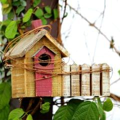 Deziworkz Wooden Brown Hut Shape Bird House-Garden Decor-Indoor-Outdoor Decor Bird House