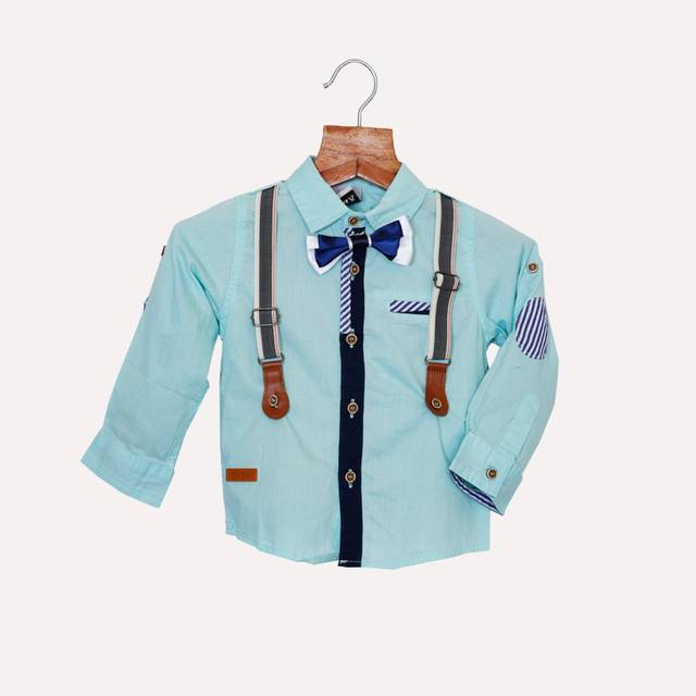 Sea Green Shirt with Bow and Suspender