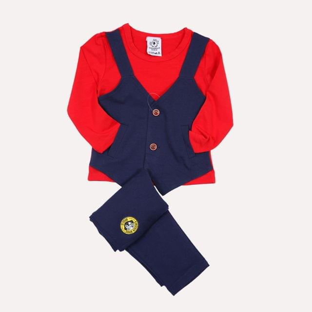 Lullabuy- Red & Blue Party wear Set with Attached Waistcoat