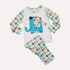 Lullabuy-2pc Warm elephant printed Night Suit