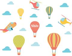 Little Jamun-Personlised large size wall stickers - Hot air balloons