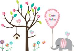 Little Jamun-Personlised large size wall stickers - Jumbo and the chirping birdies