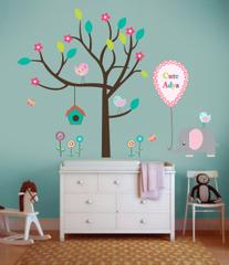 Little Jamun-Personlised Medium size wall stickers - Jumbo and the chirping birdies