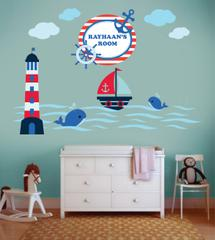 Little Jamun-Personlised medium size wall stickers - Nautical