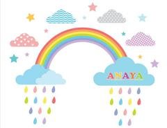 Little Jamun-Personlised medium size wall stickers - The rainbow bright and beautiful