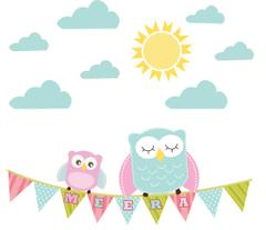 Little Jamun-Personlised medium size  wall stickers - Pretty owls