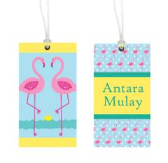 Little Jamun- Personalised bag tag, set of 2- Flamingos