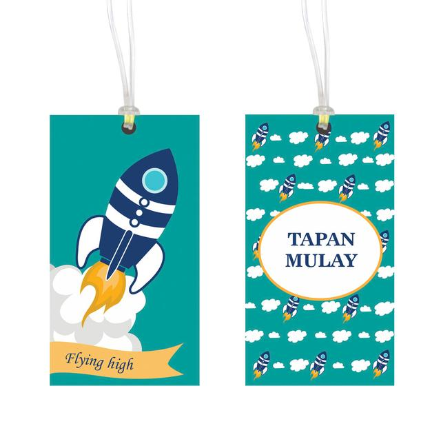 Little Jamun-Personalised bag tag, set of 2 - Rocket
