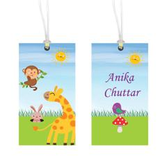 Little Jamun-Personalised bag tag, set of 2- Animal safari