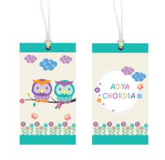 Little Jamun-Personalised bag tag, set of 2- Pretty owls