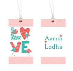 Little Jamun-Personalised bag tag, set of 2- Love birds