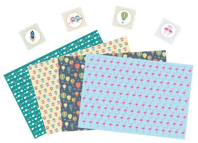Little Jamun-Set of 8 Assorted gift wrapping paper with tags