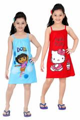 Red Rose Girls Cotton Printed Slip - Pack of 2 (Blue/Pink)