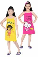 Red Rose Girls Cotton Printed Slip - Pack of 2 (Yellow/Pink)