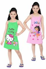 Red Rose Girls Cotton Printed Slip - Pack of 2 (Green/Pink)
