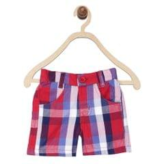 612 League Boys RED 100% COTTON CHECK SHORT