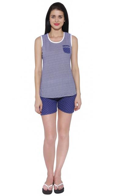 Red Ring Women's Nightwear Top and Shorts Set-Blue