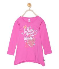 612 League Girls Fuschia Cotton R- Neck Tee 20FD