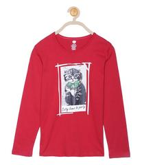 612 League Girls Red Cotton R- Neck Tee 22FD