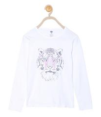 612 League Girls White Cotton R- Neck Tee 23D