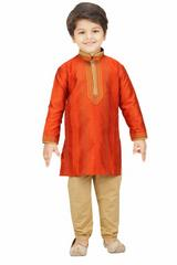 Shree Shubh Boy's Ethnic Kurta Payjama Set-Orange with gold stripes