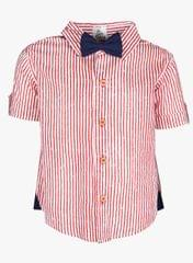 Red Stripe shirt with Navy bow