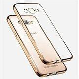 Samsung J2 2016 Edition Gold Cover- Golden Edge TPU Transparent Back Cover Case