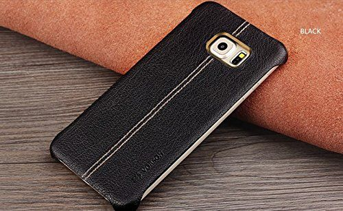 Samsung Galaxy Note 7 Vorson Lexza Series Double Stitch Leather Shell with Metallic Logo Display Back Cover-Black