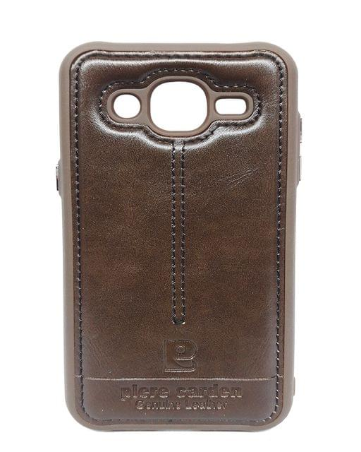 Samsung-J2- Pierre Cardin Luxury Back Lather Case (Brown)