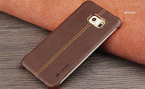 Samsung Galaxy Note 7 Vorson Lexza Series Double Stitch Leather Shell with Metallic Logo Display Back Cover-Brown