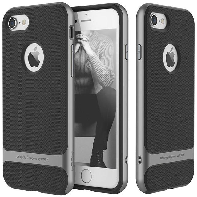 Apple iPhone 7 Rock [Royce] Anti-scratch Drop Protection Ultra Thin Slim Fit Dual Layered Heavy Duty Armor Hybrid Hard Cover-Grey