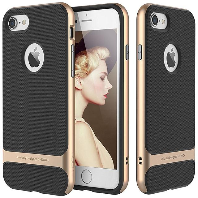 Apple iPhone 7 Rock [Royce] Anti-scratch Drop Protection Ultra Thin Slim Fit Dual Layered Heavy Duty Armor Hybrid Hard Cover-Gold