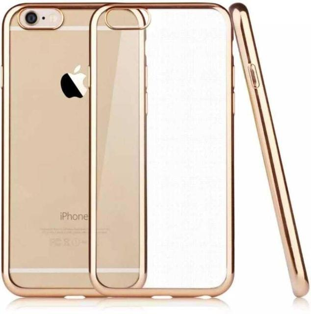 Apple iPhone 6S Silicone Transparent Back Cover with Golden Border