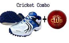 Port Mens White Blue Cricket Shoes With Leather Cricket ball Free Combo pack