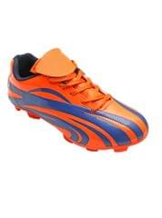 Port Wildbeest Blue Orange PU Football Shoes For Men's