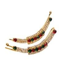 Port Exclusive Gold Plated American Diamonds Studded Multicolored Party Hair Pin