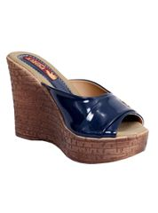 Port Designer Blue Wedge Heels For Women's