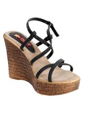 Port Designer Black Wedge Heels For Women's