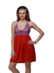 Port Exclusive Red Satin Night Wear For Women's