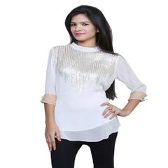 Port Exclusive White Embroidered Women's Casual Top