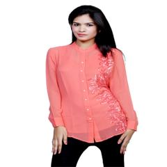 Port Exclusive Peach Embroidered Women's Casual Top