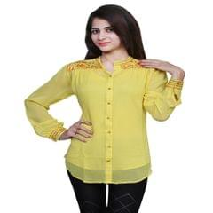 Port Exclusive Yellow Embroidered Women's Casual Top