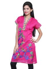 Port Pink Cotton Embroidered Women's Casual Kurti