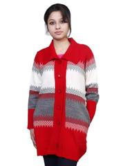 Neva Red White Woolen Buttoned Cardigans