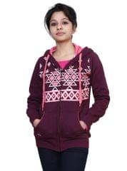 Neva Plum Fleece Hooded Sweatshirts For Women's